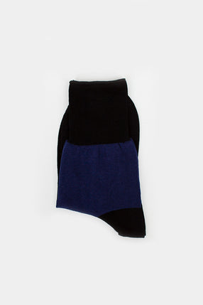 Fine Cotton Sock Black/Cobalt