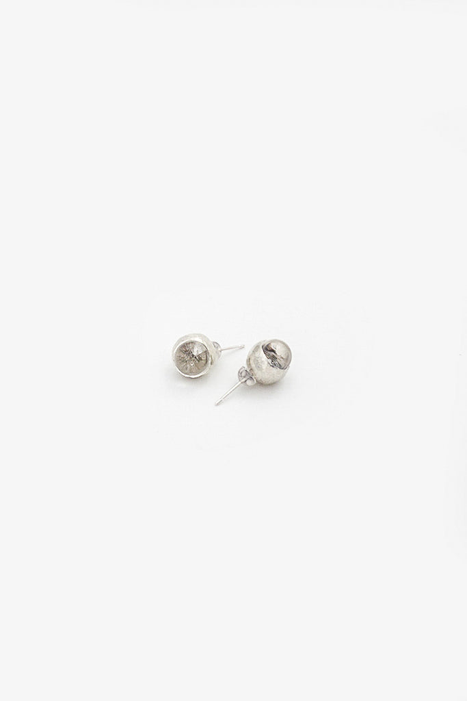 Silver Drop Orb Earrings