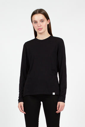 Black Cotton Crew Neck Tee