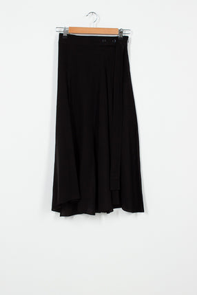 Black Silk Crepe Skirt
