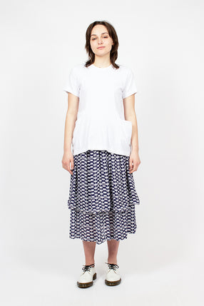a76b888080 Blue/White Patterned Tier Skirt