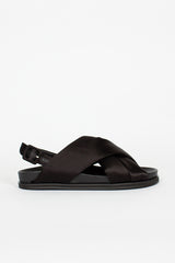 Black Satin Cross Strap Sandal