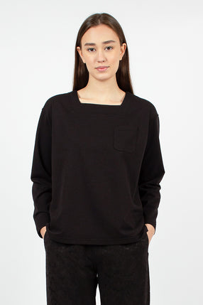 Square Neck Shirt Black Solid PC Jersey