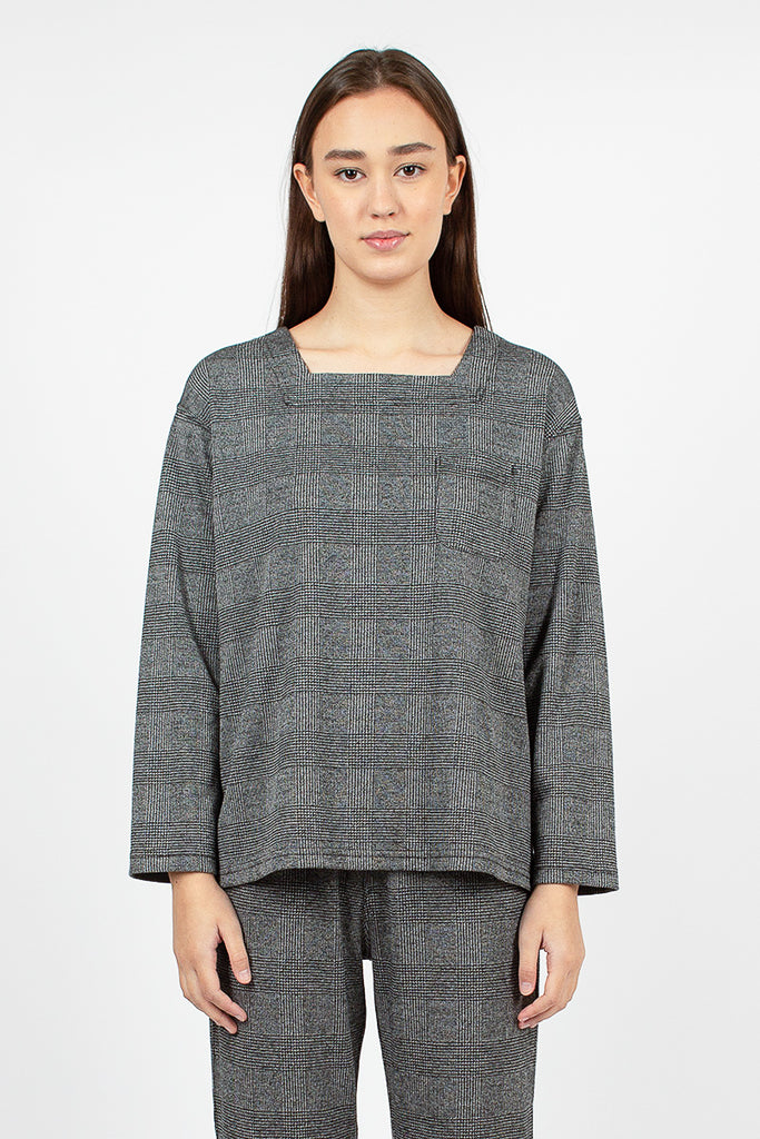 Square Neck Grey PC Knit Glen Plaid Top