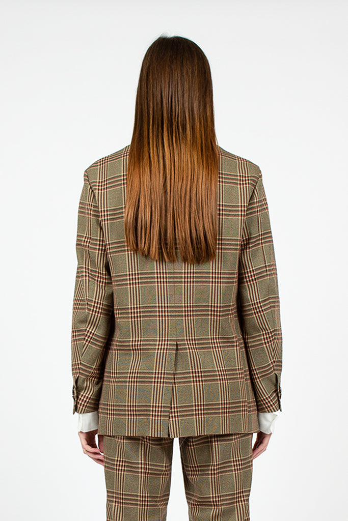 Plaid Peaked Lapel Jacket