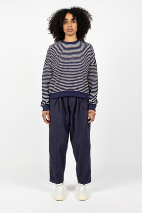 Sylvian Bonded Cotton Trousers Navy