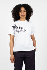 Printed Cross Neck Pocket T-Shirt White