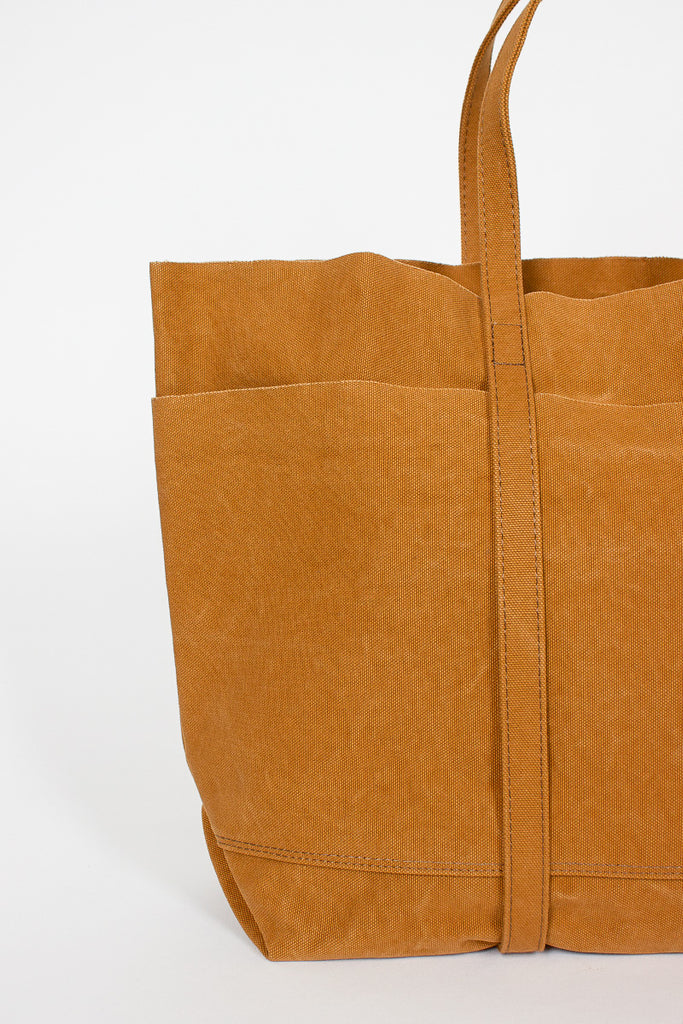 Mustard Washed Canvas 6 pocket Tote