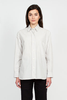 MHL Tram Stripe Ecru/Brown Shirt