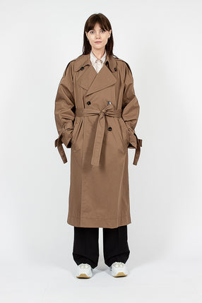 Cotton Trench Coat Light Brown