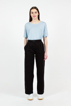 Twill Black Wide Leg Trouser