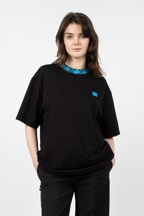 Raised Neck Face Tee Blue/Black