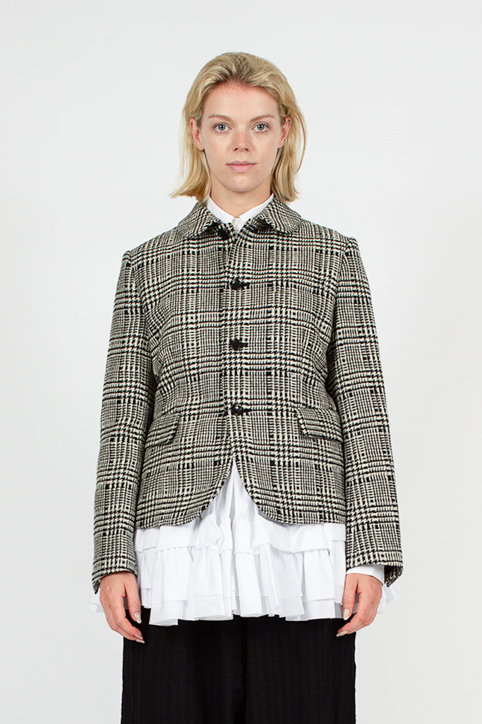 Cream Check Layered Blazer