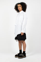 Asymmetric Twisted Hip Emblem Shirt White