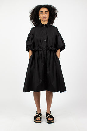 Twisted Hip Shirt Dress Black