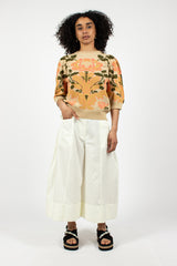 Sculpted Poplin Wide Leg Trousers Cream
