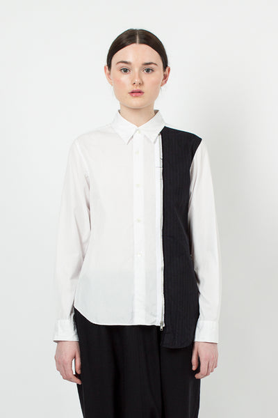 White/Pinstripe Zip Panel Shirt