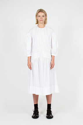 White Pin Tuck Smock Dress