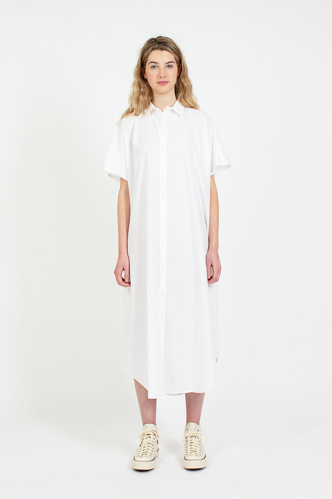 White Kimono Sleeve Shirt Dress