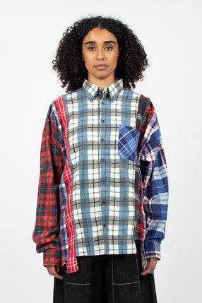 Rebuild 7 Cuts Wide Flannel Shirt Blue/Red