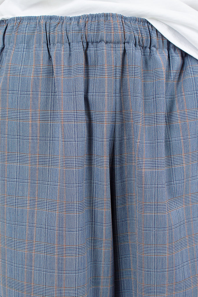 Wide Leg Blue Plaid Pull On