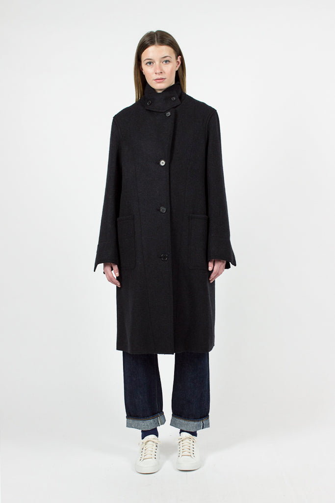 Ink Heavy Wool Melton Arctic Overcoat