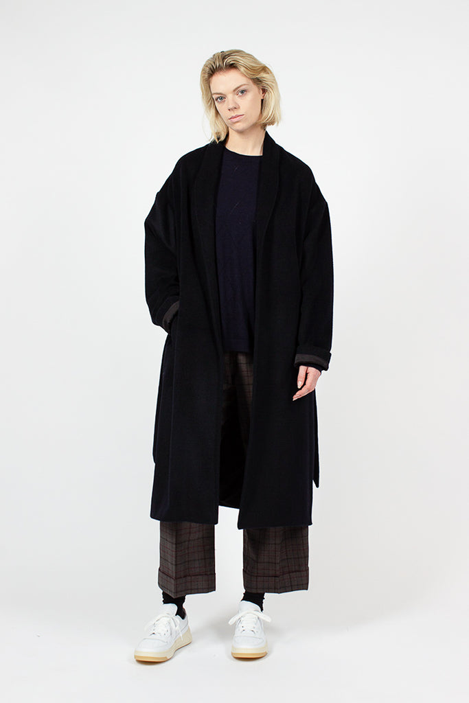 Navy Wrap Coat
