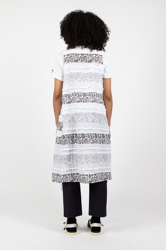 Wrap Dress Cotton Fringed Patchwork White