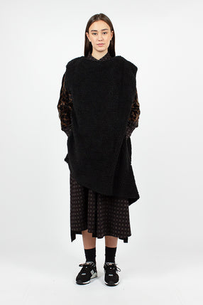 Wrap Knit Vest Black Poly Shearling
