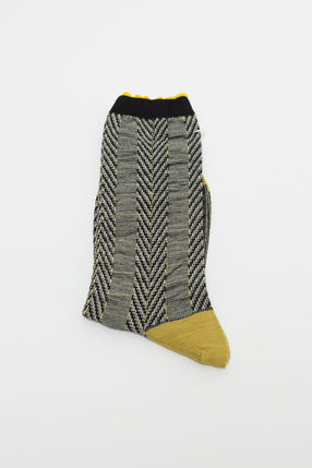 Yellow Asymmetric Stripe Sock