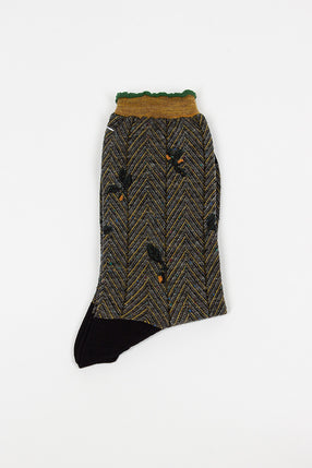 Black/Green Floral Sock