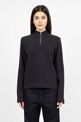 Zip Wave L/S Top Black Rib