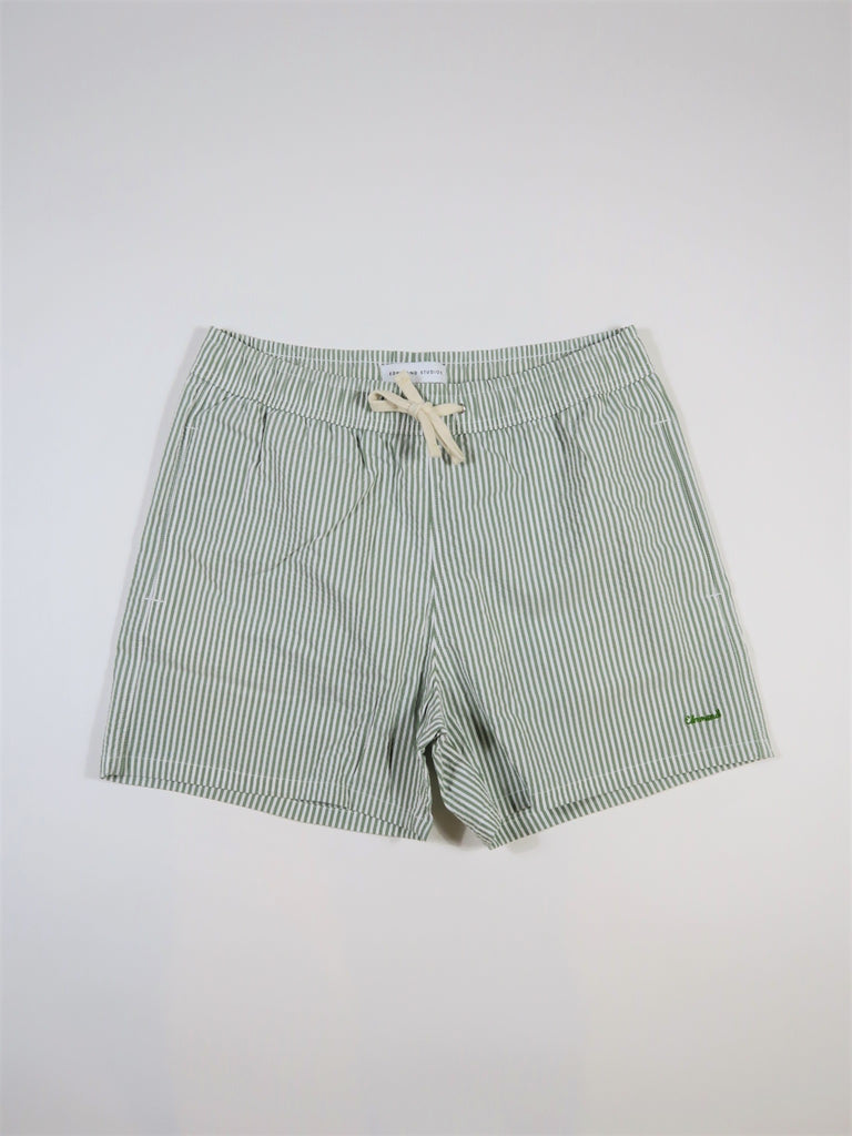 Edmmond Studios Classic Seersucker Striped Swimming Shorts in Green