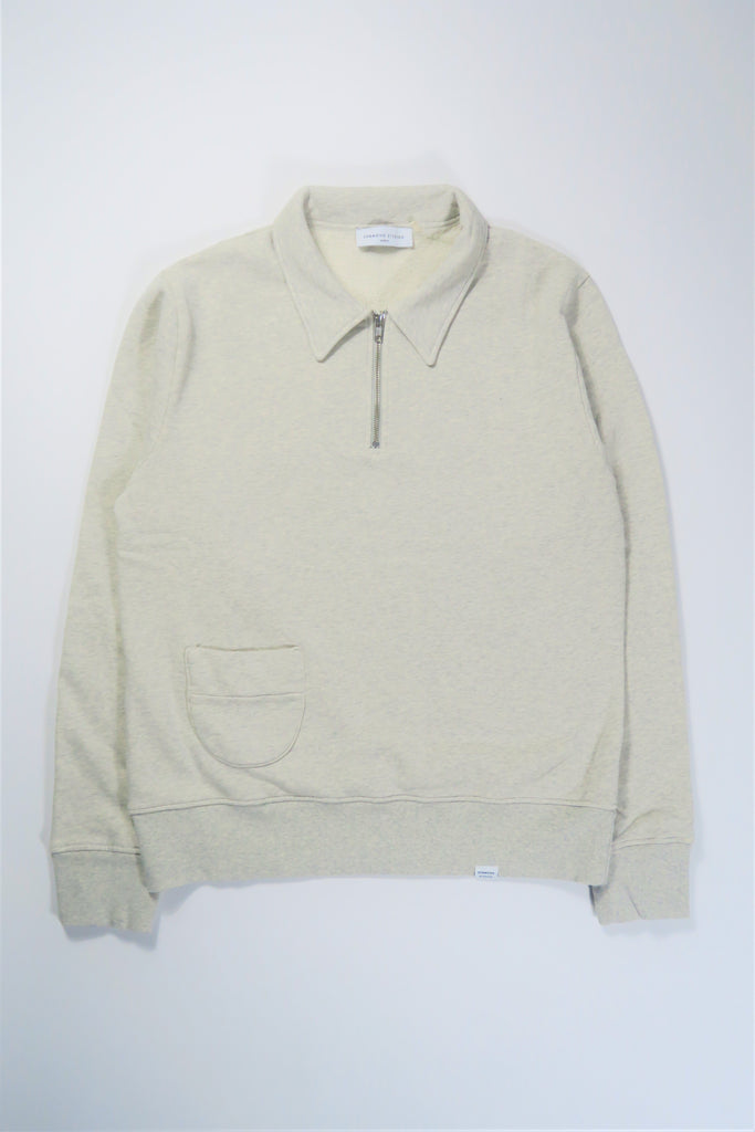 Edmmond Studios Actual Zip Sweater in Light Grey