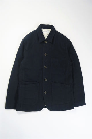 Universal Works Bakers Jacket Wool Marl II in Navy