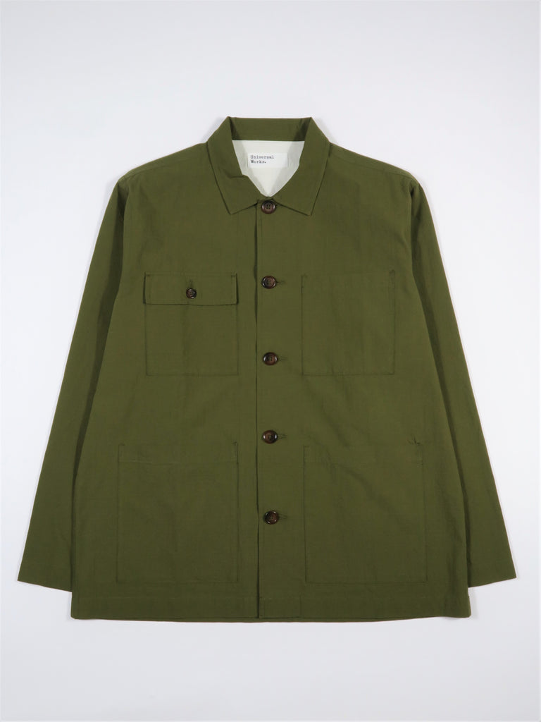 Universal Works Dockside Overshirt Ripstop Cotton in Olive