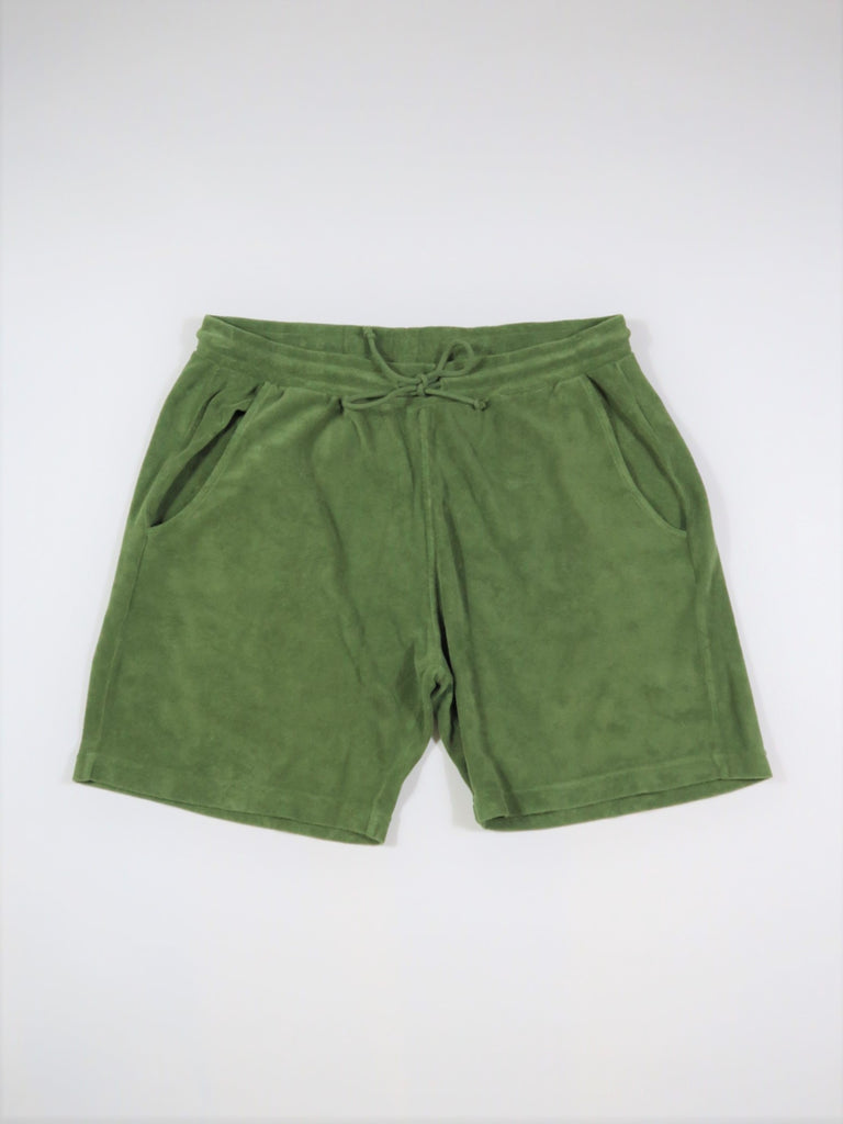 Universal Works Beach Shorts Terry Fleece in Olive