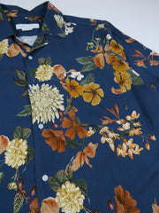 Edmmond Studios Flowers Short Sleeve Shirt in Navy