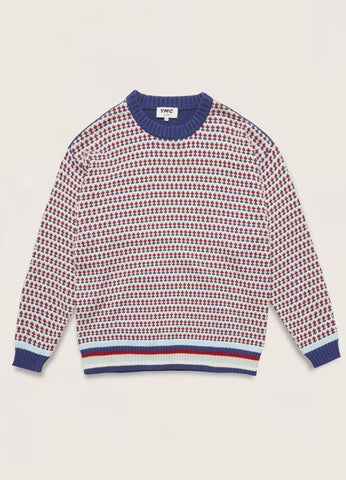 You Must Create (YMC) Dawg Oversized Cotton Cashmere Crew Neck Patterned Stripe Jumper in Multi P8QAD90