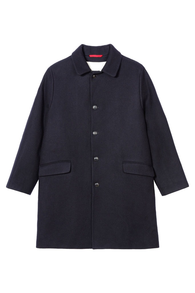Homecore Steve Malmoe Wool Overcoat in Navy