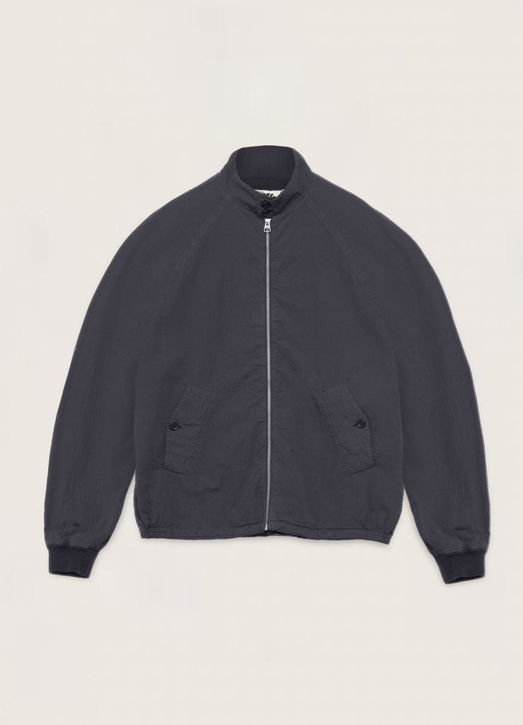You Must Create Buster Oversized Cotton Seersucker Jacket in Navy P5QAJ40