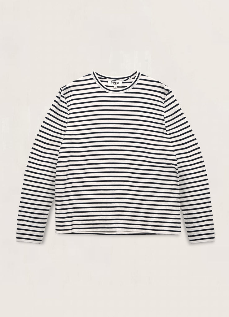 You Must Create (YMC) X Cotton Crepe Jersey Sweatshirt in White/Navy P7QAD11