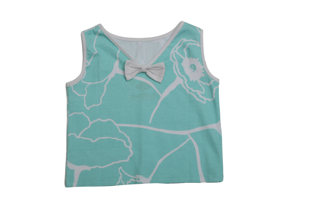 Ari Aqua Meadows Bow Back Top - Three Friends Apparel