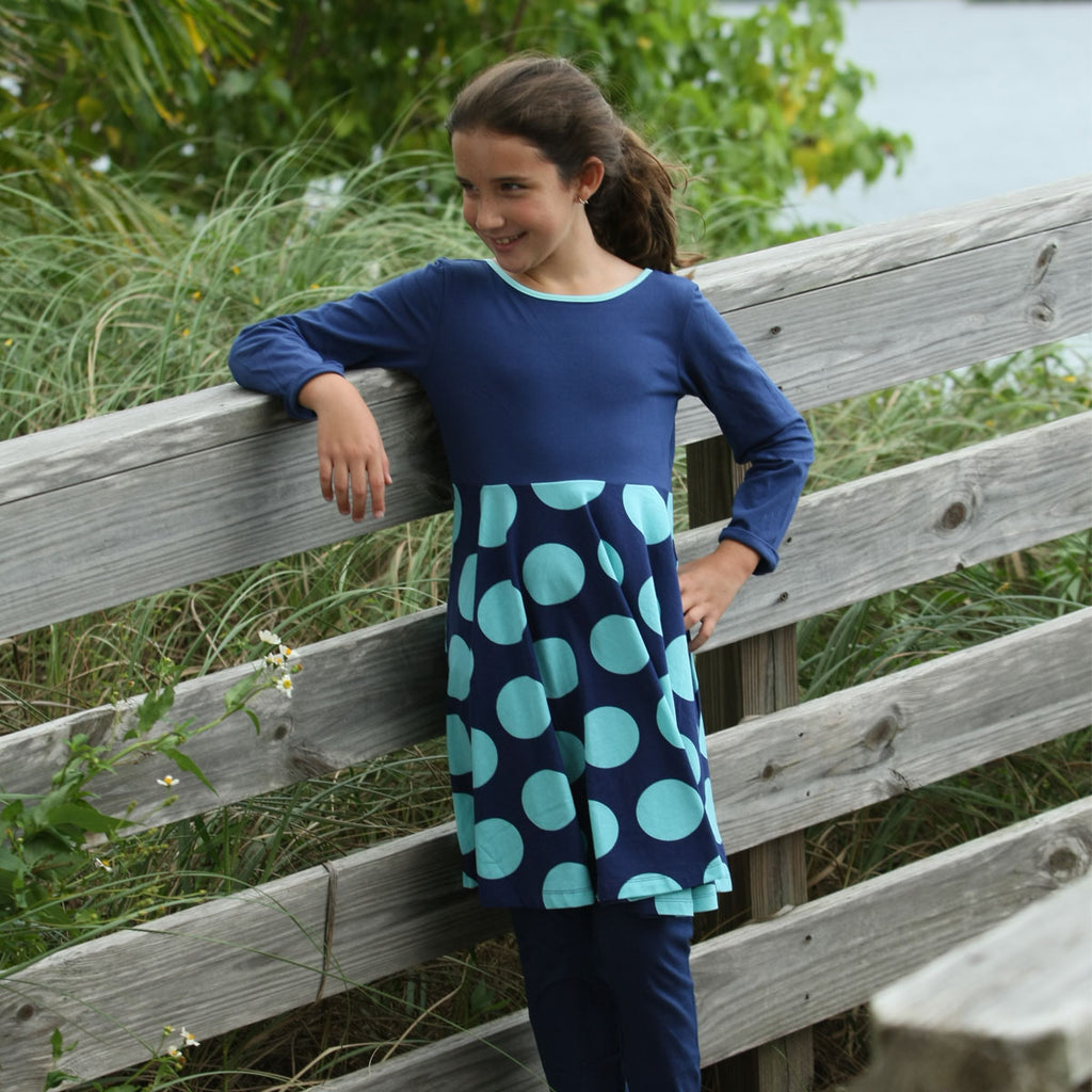 Lula Belle Twirl Dress Navy Rounder - Three Friends Apparel