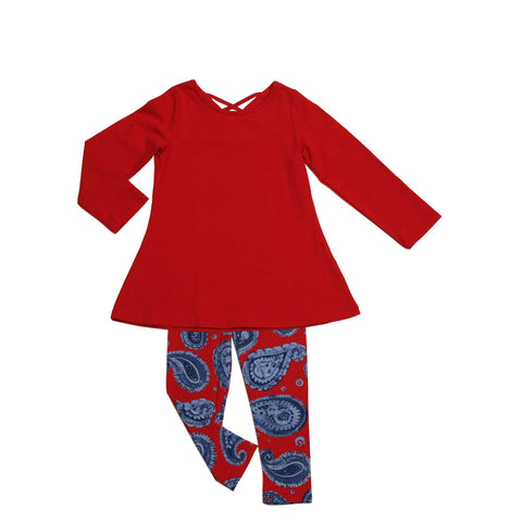 Josie Tunic Legging Set Red - Three Friends Apparel