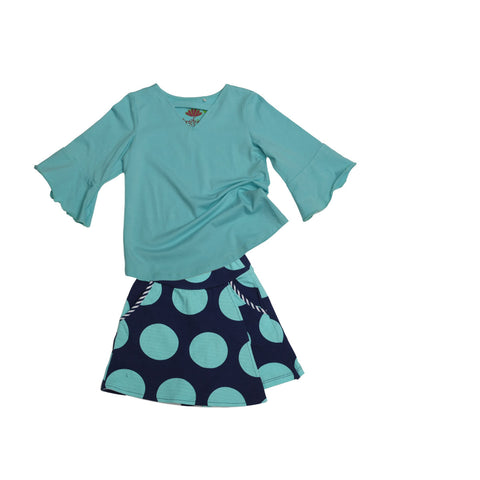 Jackie Skort Set Aqua & Navy Rounder - Three Friends Apparel