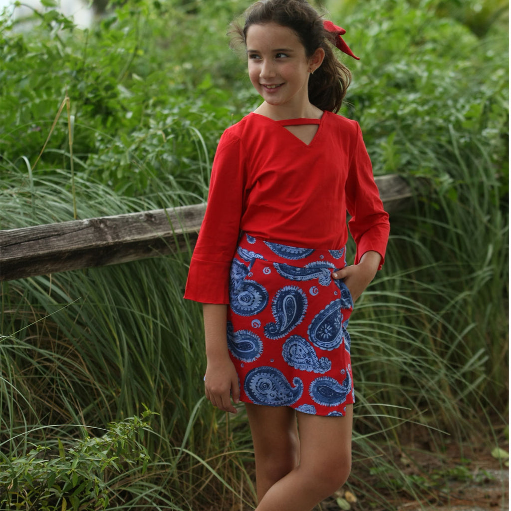 Jackie Skort Set Denim Paisley - Three Friends Apparel