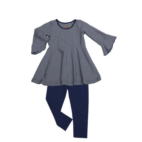 Kacey Tunic Set Navy Stripe - Three Friends Apparel