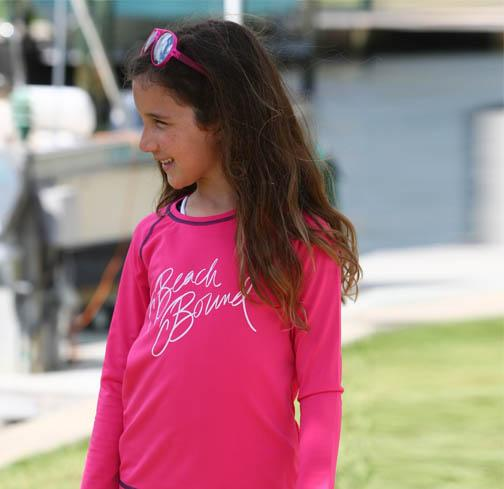 Zahra RashGuard HOT PINK NAVY - BEACH BOUND - Three Friends Apparel