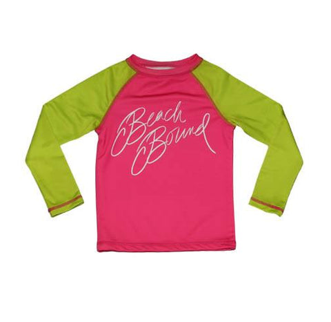 Zahra RashGuard PINK AND LIME Beach Bound - Three Friends Apparel